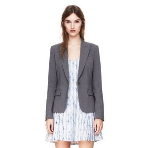 Theory Grey Check Gabe-B Wool Blazer